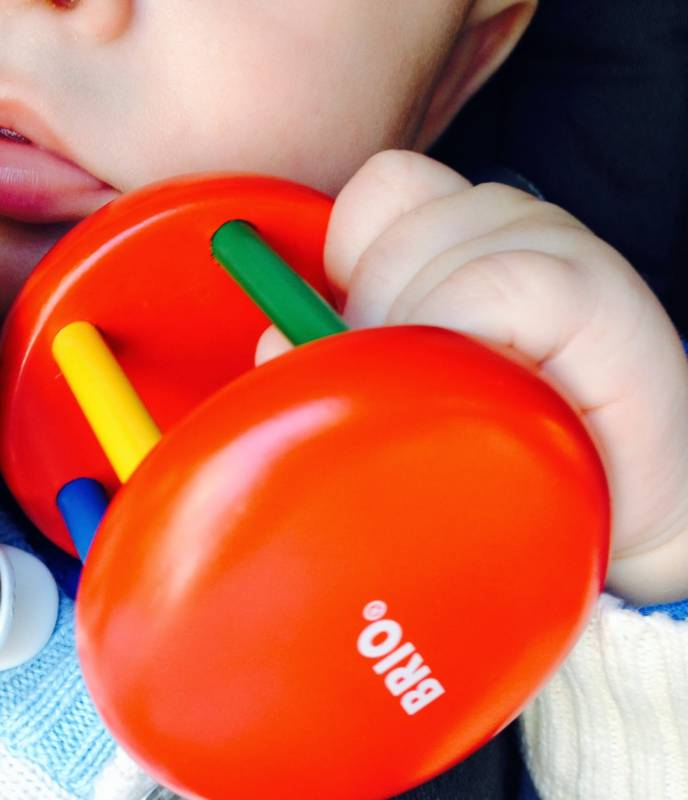 Brio, rattle, wood, bell, colourful, eye-hand coordination